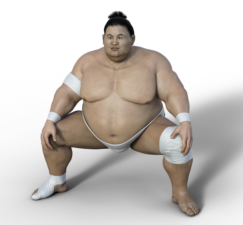 Image of a Japanese wrestler in squatting position