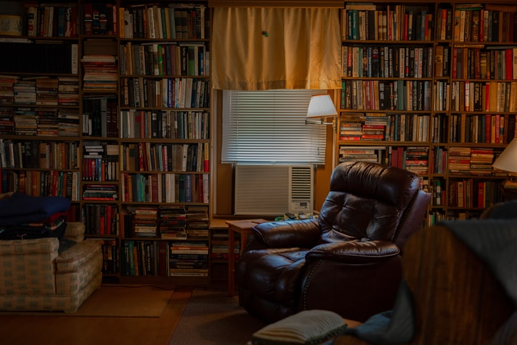 Image of a recliner in a library