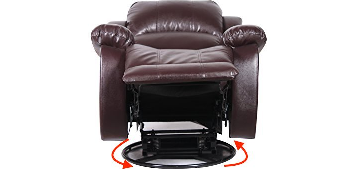 Image of a swivel recliner showing you the base of the recliner
