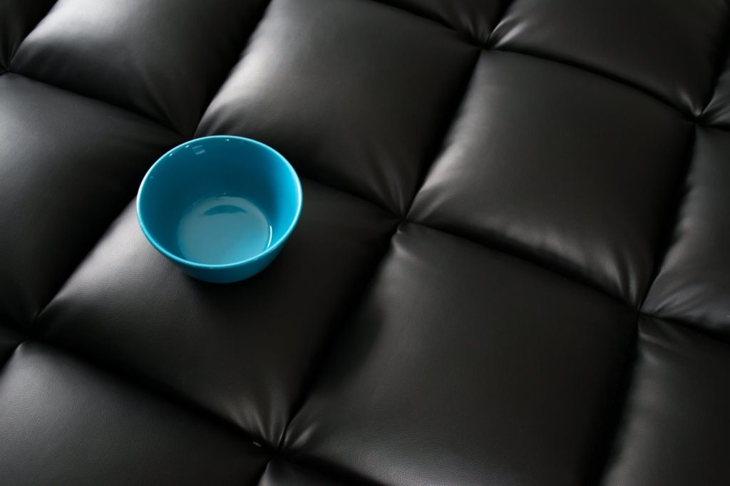 Image of the seat of a leather covered chair.