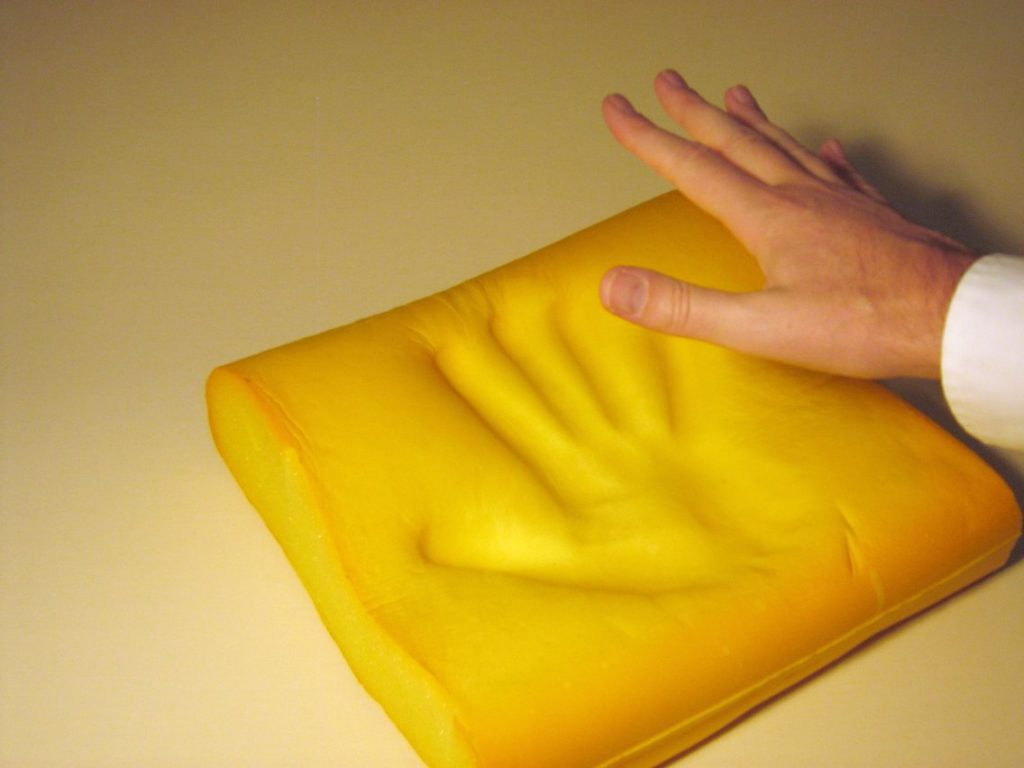 Image of Memory Foam Cushion with handprint