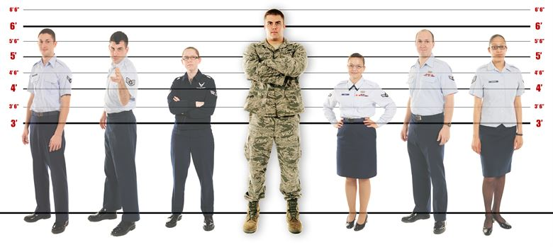 image of several people of different heights standing in front of lines measuring their height.