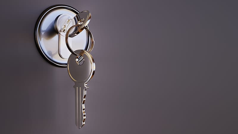 Image of a Key inserted into a door lock