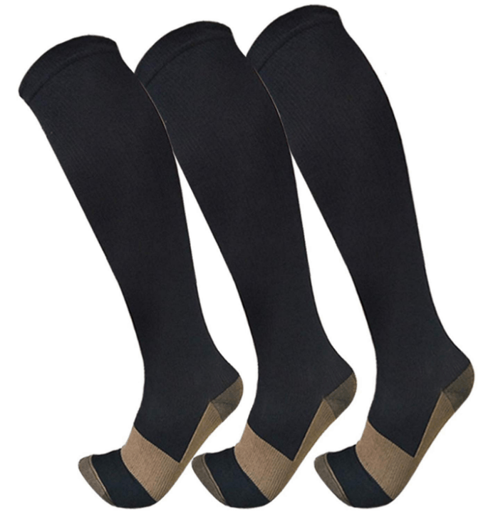 Image of Knee High Compresssion Socks on a leg